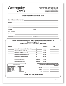 Community Cards Christmas 2018 Order Form